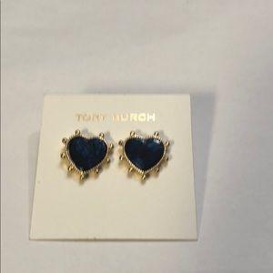 Beautiful blue heart earrings by Tory Burch